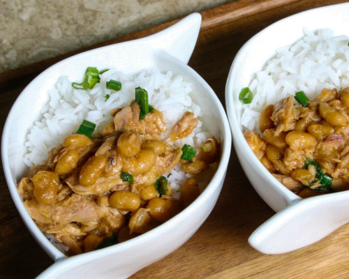 BAKED BEANS AND TUNA WITH STEAMED RICE